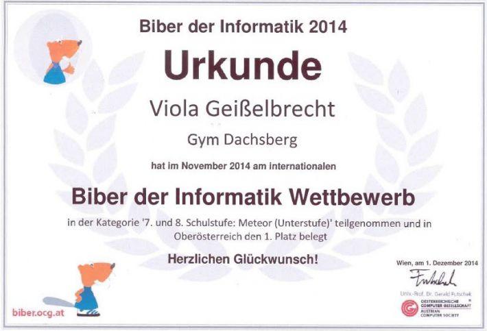 1. Platz - Biber der Informatik 1
