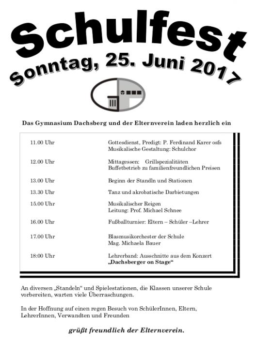 schulfest – gymnasium und org dachsberg, Einladung