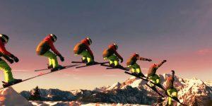 Sport und Kunst im Schnee